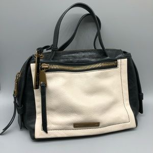 Fossil leather black and white satchel